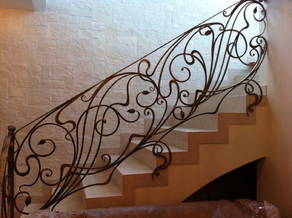 Кованые перила для лестницы с боковым креплением  Артикул № 177