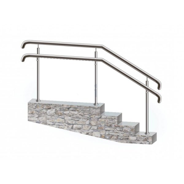 Перила из нержавеющей стали для пандусов для инвалидов поручень верхний и боковой на стойках через две ступени Артикул  № 139