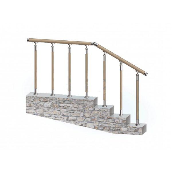 Перила из нержавеющей стали с деревянным поручнем на деревянных стойках на каждую ступень Артикул № 155