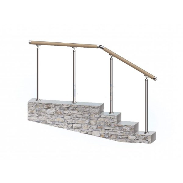 Перила из нержавеющей стали с деревянным поручнем на стойках через 2 ступени Артикул № 148