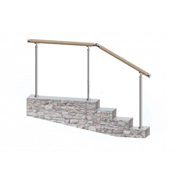 Перила из нержавеющей стали с деревянным поручнем на стойках через 2 ступени Артикул № 147