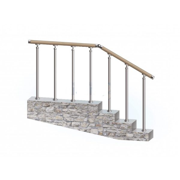 Перила из нержавеющей стали с деревянным поручнем на стойках на каждую ступень Артикул № 149