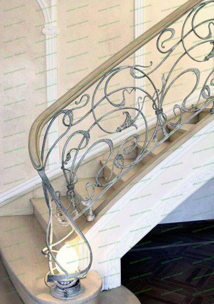 Кованые перила в стиле модерн серебряного цвета с патиной Артикул № 217